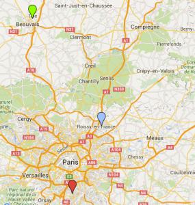 Verde: Beauvais Azul: CDG Rojo: Orly